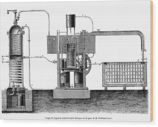 19th Century Ice-making Machine Wood Print by Collection Abecasis/science Photo Library