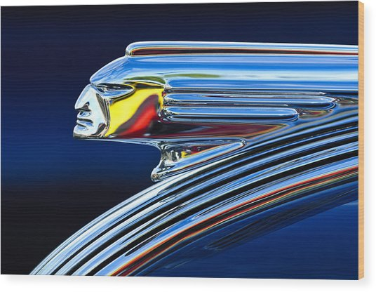 1939 Pontiac Silver Streak Chief Hood Ornament Wood Print