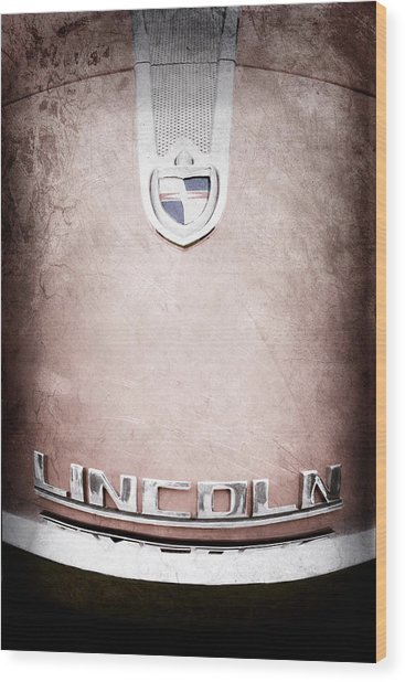 1955 Lincoln Indianapolis Boano Coupe Emblem Wood Print