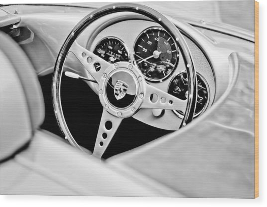 1955 Porsche Spyder Replica Steering Wheel Emblem Wood Print by Jill Reger