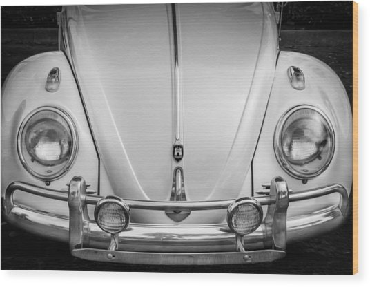 1960 Volkswagen Beetle Vw Bug   Bw Wood Print