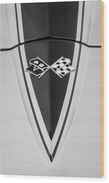 1967 Chevrolet Corvette Coupe Hood Emblem Wood Print
