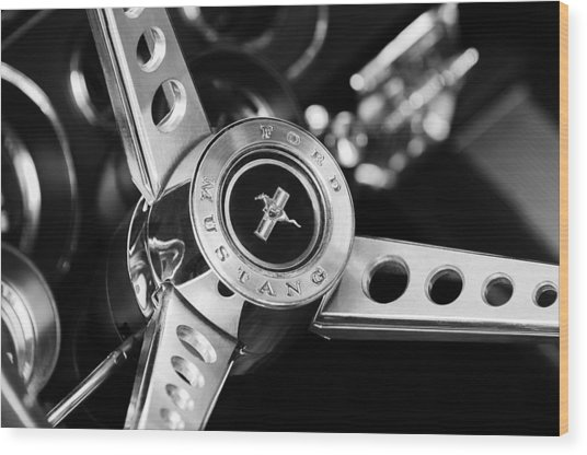 1969 Ford Mustang Mach 1 Steering Wheel Wood Print