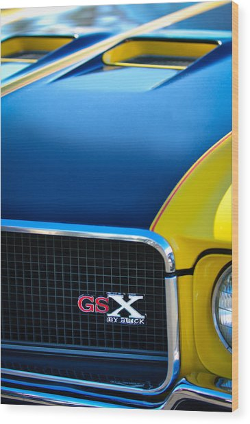 Wood Print featuring the photograph 1970 Buick Gsx Grille Emblem by Jill Reger