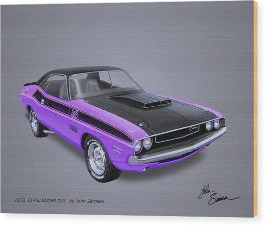 1970 Challenger T-a  Muscle Car Sketch Rendering Wood Print
