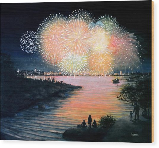 4th Of July Gloucester Harbor Wood Print