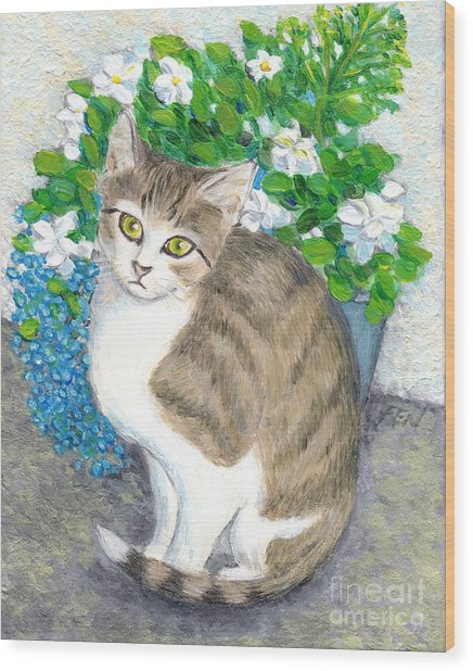 A Cat And Flowers Wood Print