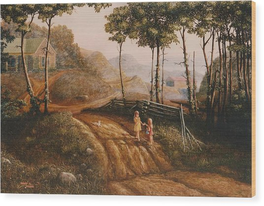 A Country Lane Wood Print