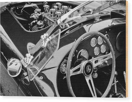 Ac Shelby Cobra Engine - Steering Wheel Wood Print