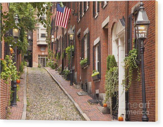 Acorn Street Boston Wood Print