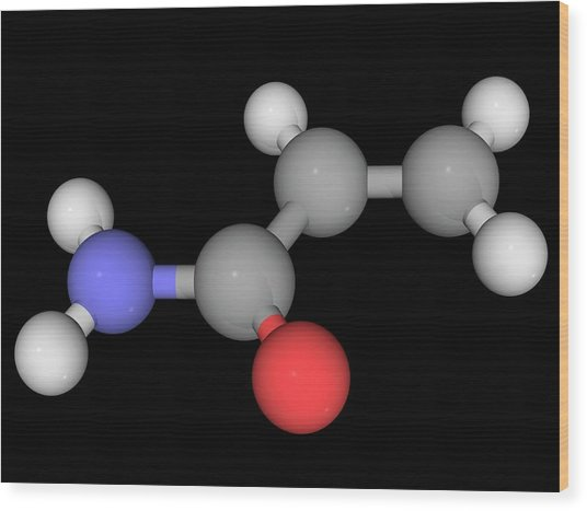 Acrylamide Molecule Wood Print by Laguna Design/science Photo Library