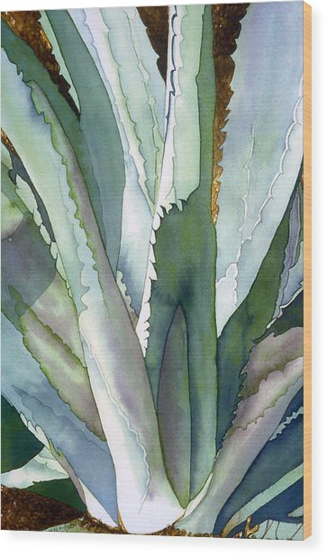 Agave 1 Wood Print by Eunice Olson