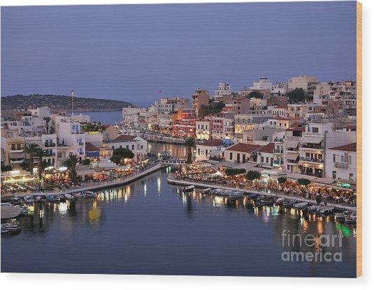Agios Nikolaos City During Dusk Time Wood Print
