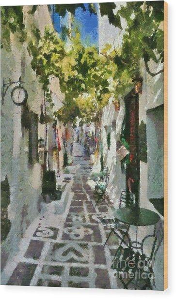 Alley In Ios Town Wood Print