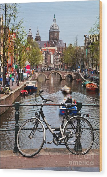 Amsterdam Old Town Canal Wood Print