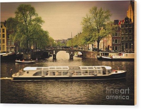 Amsterdam Romantic Bridge Over Canal Wood Print