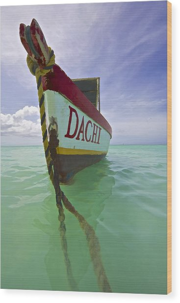 Anchored Colorful Fishing Boat Of Aruba II Wood Print