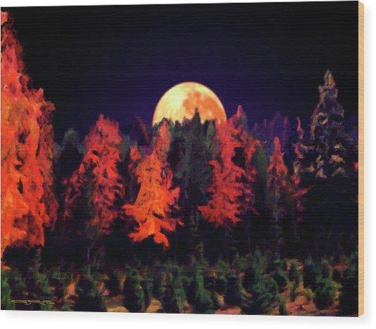 Apple Hill Moonrise Wood Print