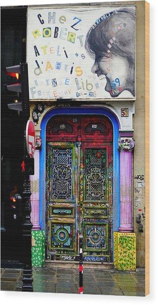 Artistic Door In Paris France Wood Print