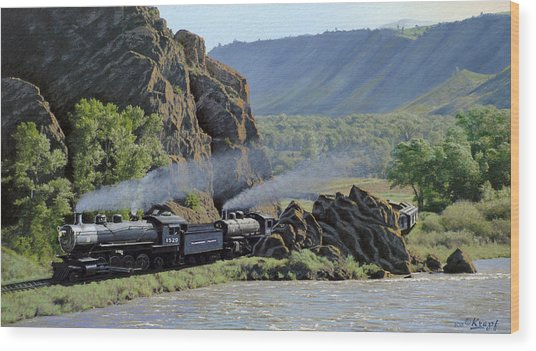 At Point Of Rocks-bound For Yellowstone Wood Print
