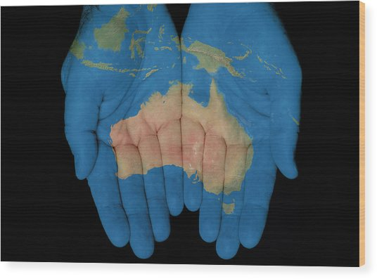 Australia In Our Hands Wood Print