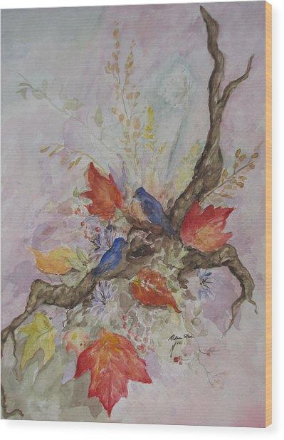 Autumn Bluebirds Wood Print