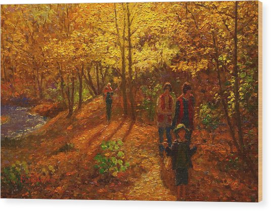 Autumn Bush Creek Track  Wood Print by Terry Perham
