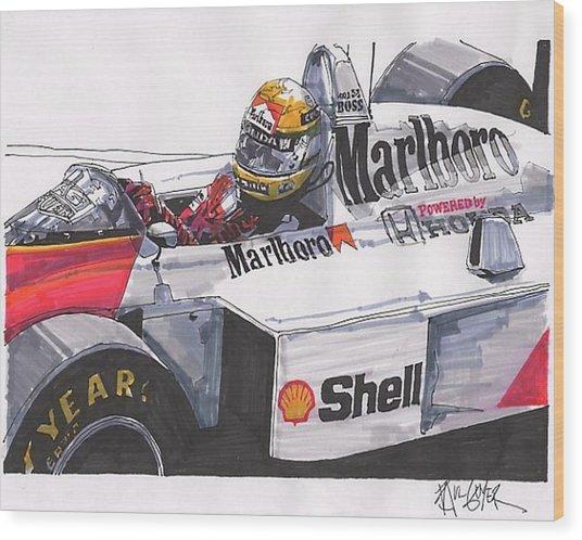 Ayrton Senna Mclaren French Grand Prix Wood Print