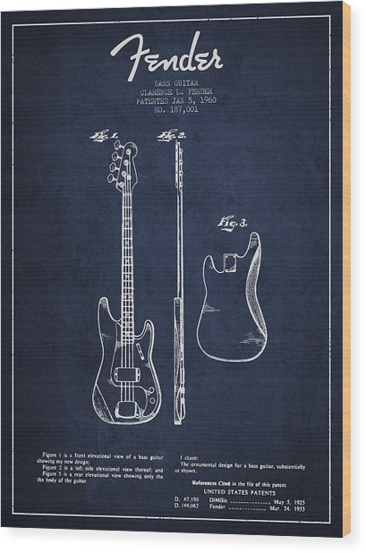 Bass Guitar Patent Drawing From 1960 Wood Print