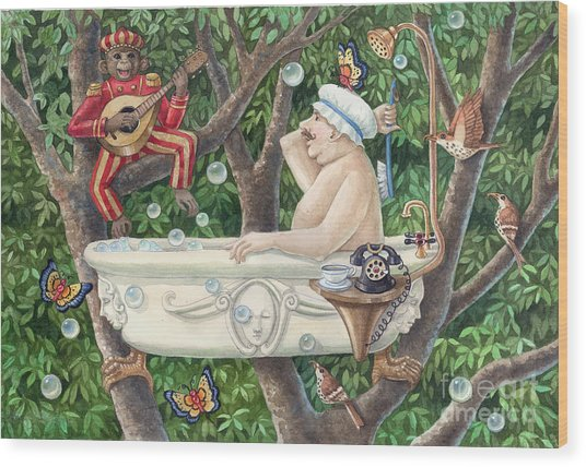 Bath Tub Serenade Wood Print by Ann Gates Fiser