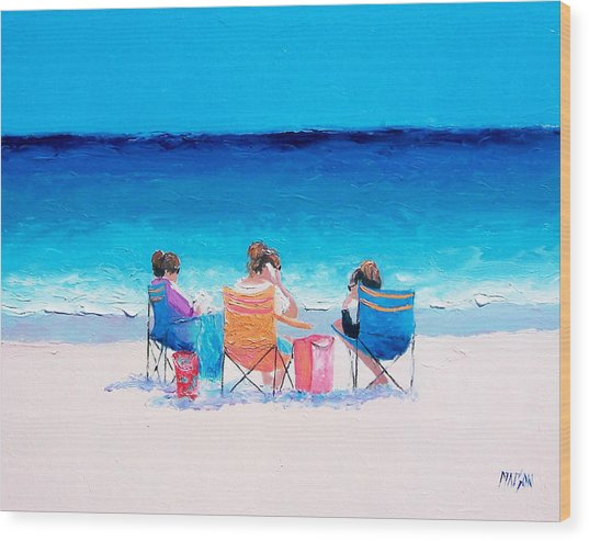 Beach Painting 'girl Friends' By Jan Matson Wood Print