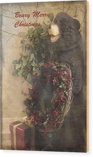 Beary Merry Christmas Wood Print by Cindy Rubin