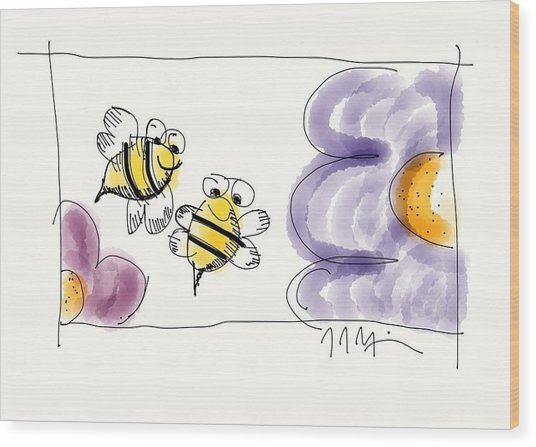 2 Bee Or Not To Bee Wood Print