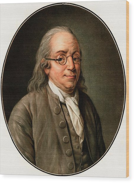 Benjamin Franklin Wood Print by American Philosophical Society