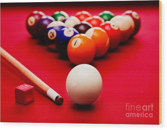 Billards Pool Game Wood Print