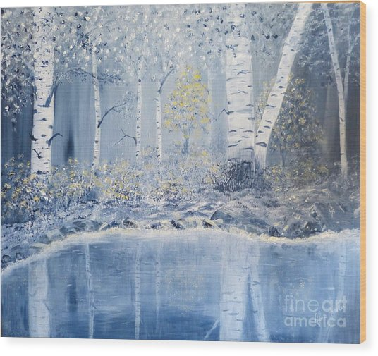 Birch Reflections Wood Print