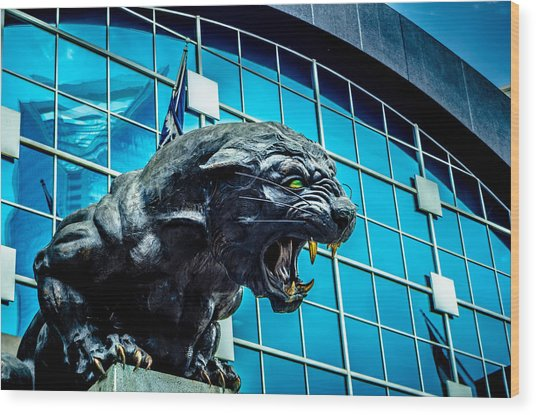 Black Panther Statue Wood Print