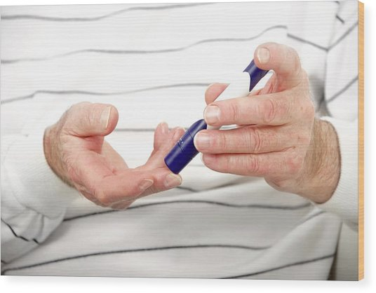 Blood Sugar Level Testing In Diabetes Wood Print by Lea Paterson/science Photo Library