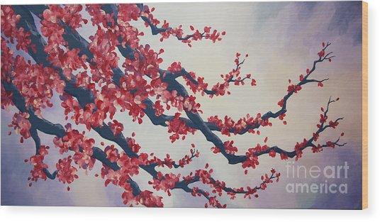 Blossoms At Dusk Wood Print