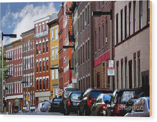 Boston Street Wood Print
