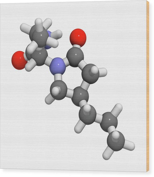 Brivaracetam Anticonvulsant Drug Molecule Wood Print by Molekuul