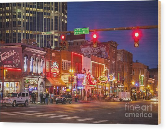 Broadway Street Nashville Wood Print