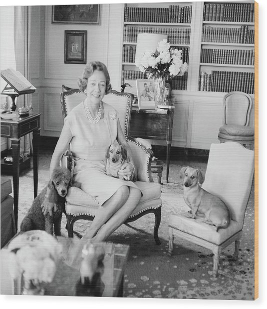 Brooke Astor With Dogs Wood Print