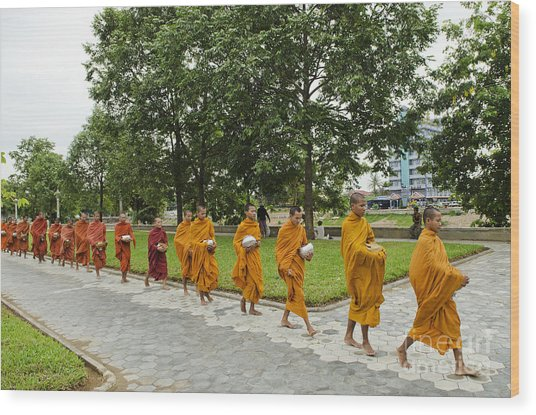 Buddhist Monks In Battambang Cambodia Wood Print