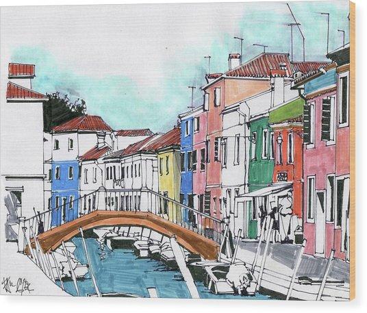 Burano Venice Italy Wood Print
