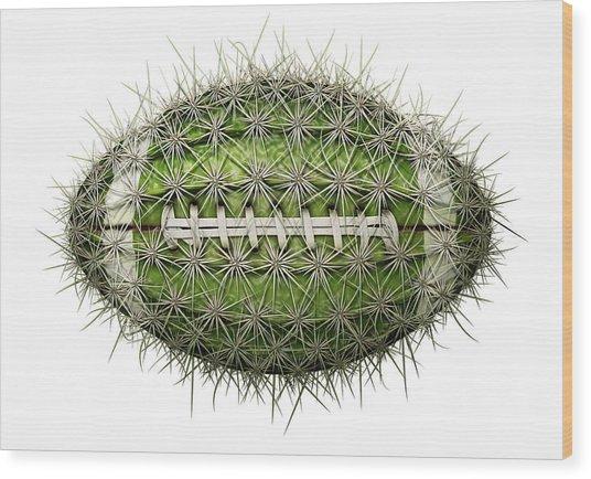 Cactus Football Wood Print