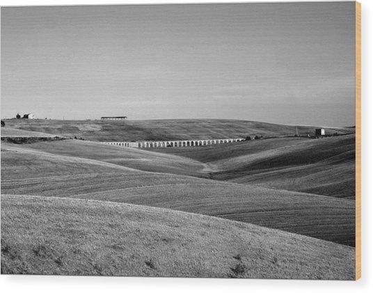 Tarquinia Landscape Campaign With Aqueduct Wood Print