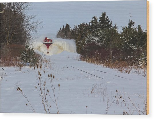Canadian Pacific Snow Plow Wood Print