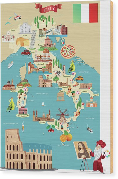 Cartoon Map Of Italy Wood Print by Drmakkoy