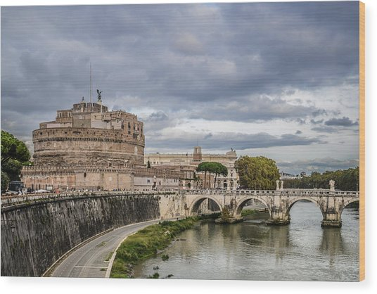 Castle St Angelo In Rome Italy Wood Print
